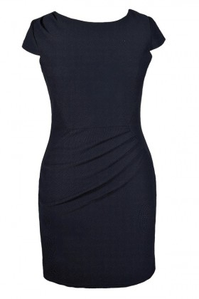 Cute Plus Size Dress, Plus Size Pencil Dress, Plus Size Navy Pencil Dress, Plus Size Work Dress, Plus Size Capsleeve Pencil Dress