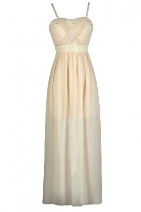 Beige Maxi Dress, Beige Formal Dress, Beige Prom Dress, Cute Beige Dress, Beige Embellished Dress, Beige Rhinestone Dress, Beige Boho Dress