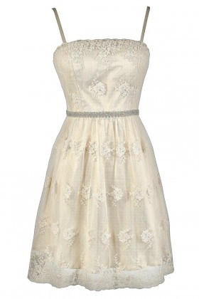 Cute Ivory Dress, Cute Beige Dress, Ivory Rehearsal Dinner Dress, Ivory Bridal Shower Dress, Ivory Embroidered Dress, Ivory Pearl Dress, Beige Embroidered Dress, Beige Pearl Dress, Ivory A-Line Dress, Beige A-Line Dress