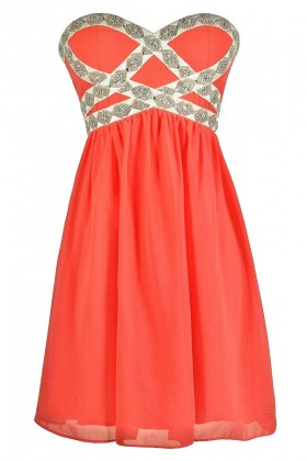 Cute Coral Dress, Coral Prom Dress, Coral Cocktail Dress, Beaded Coral Dress, Embellished Coral Dress, Coral Chiffon Dress, Coral Strapless Dress