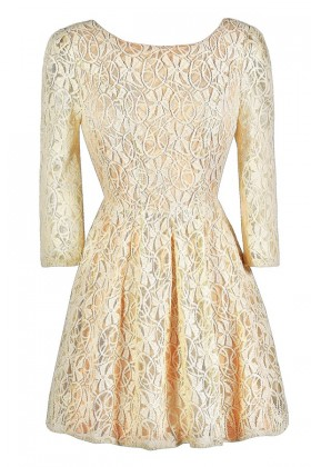 Beige Lace Dress, Beige and Peach Lace Dress, Beige Lace Three Quarter Sleeve Dress, Beige Lace A-Line Dress