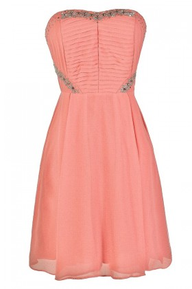 Cute Pink Dress, Pink Party Dress, Pink Cocktail Dress, Beaded Pink Dress, Embellished Pink Dress, Pink Chiffon Dress, Pink Semi-formal Dress, Pink Prom Dress