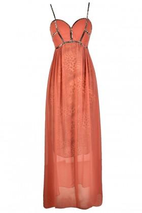 Cute Maxi Dress, Coral Maxi Dress, Leopard Print Dress, Leopard Print Maxi Dress, Coral Leopard Print Dress, Cute Animal Print Dress, Cute Summer Dress, Cute Maxi Dress