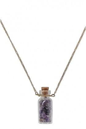 Cute Necklace, Cute Jewelry, Bottle Necklace, Purple Bottle Necklace, Amethyst Bottle Necklace, Purple Stone Bottle Necklace, Purple Stone Necklace