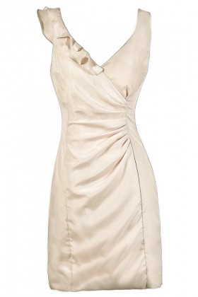 Cute Beige Dress, Beige Summer Dress, Beige Ruffle Dress, Beige Pencil Dress, Fitted Beige Dress