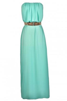 Cute Mint Dress, Mint Maxi Dress, Summer Maxi Dress, Cute Mint Maxi Dress, Belted Maxi Dress, Strapless Mint Maxi Dress