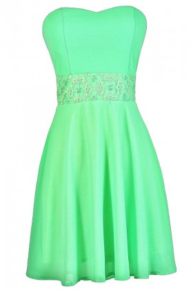 Bright Green Dress, Neon Green Dress, Green Party Dress, Green Summer Dress, Green Cocktail Dress, Neon Green A-Line Dress, Bright Green Strapless Dress