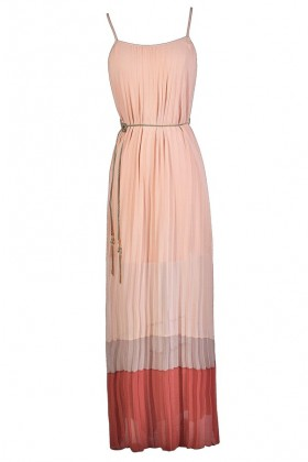 Cute Maxi Dress, Summer Maxi Dress, Colorblock Maxi Dress, Pink and Coral Maxi Dress