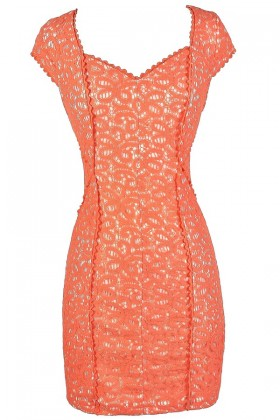 Orange Lace Dress, Orange Lace Pencil Dress, Fitted Orange Lace Dress, Orange Lace Summer Dress, Orange Lace Cocktail Dress