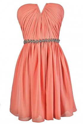 Cute Peach Dress, Peach Strapless Dress, Peach Bridesmaid Dress, Peach Party Dress, Peach Embellished Dress, Peach A-Line Dress