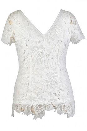 Cute Plus Size Top, White Lace Plus Size Top, Ivory Lace Plus Size Top, Cute Summer Top, Lace Summer Top, White Lace Top