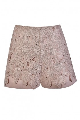 Mocha Blush Lace Shorts, Blush Floral Crochet Lace Shorts, Cute Summer Shorts