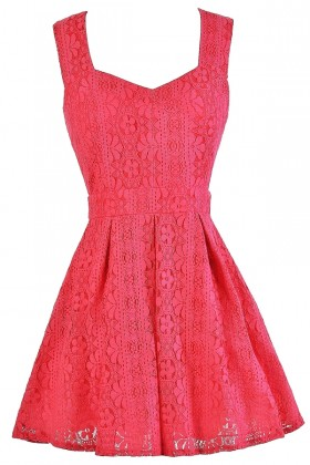 Hot Pink Lace Dress, Hot Pink A-Line Lace Dress, Hot Pink Party Dress, Cute Summer Dress, Hot Pink Cocktail Dress