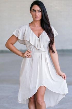 Beige Ruffle High Low Dress, Cute Beige Summer Dress, Beige Sundress