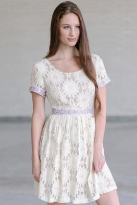 Cream Lace A-Line Dress, Beige Lace Rehearsal Dinner Dress, Bridal Shower Dress, Lace Party Dress Online