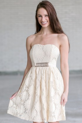Beige Strapless Lace Dress, Cream Lace Rehearsal Dinner Dress, Lace Bridal Shower Dress