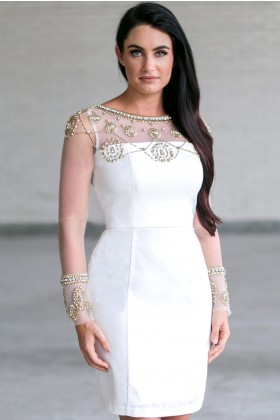 Beaded Gold and White Dress, Gold and White Cocktail Dress, Gold and White Party Dress Online