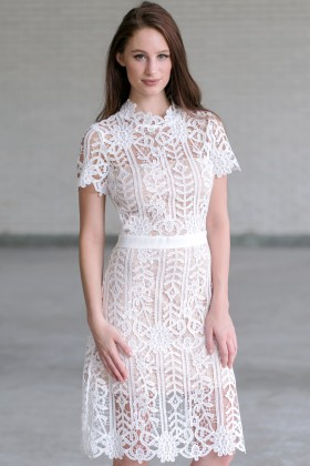 High Time Crochet Lace Midi Dress in Off White