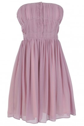 Pleated Strapless Hook and Eye Designer Dress by Minuet in Pale Lavender