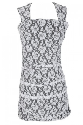 Metallic Lace Fitted Bodycon Dress in Ivory