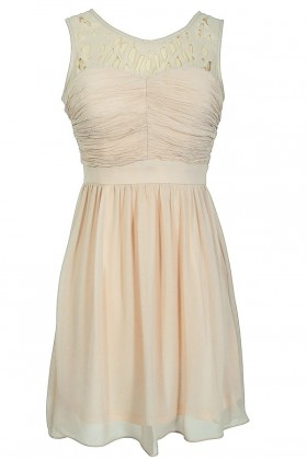 Laser Cut Chiffon Dress in Bone