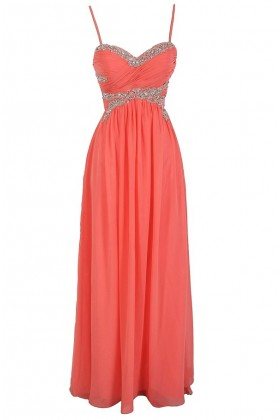 Elysian Dream Embellished Chiffon Designer Dress in Coral