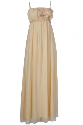Petal Applique Chiffon Maxi Dress in Butter