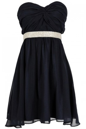 Twisted Chiffon Embellished Designer Dress in Navy