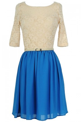 Dawn Til Dusk Belted Lace and Chiffon Dress in Bright Blue