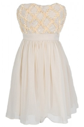 Frosted Confection Chiffon Designer Dress by Minuet in Cream