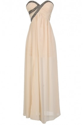 Silver Embellished Chiffon Designer Maxi Dress in Cream