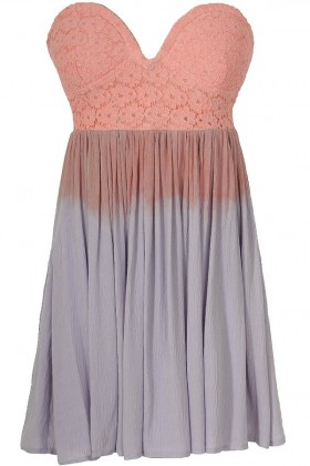 Cotton Candy Ombre Strapless Lace Bustier Dress in Pink/Purple