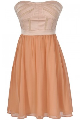 Different Angles Strapless Chiffon Designer Dress in Beige/Peach