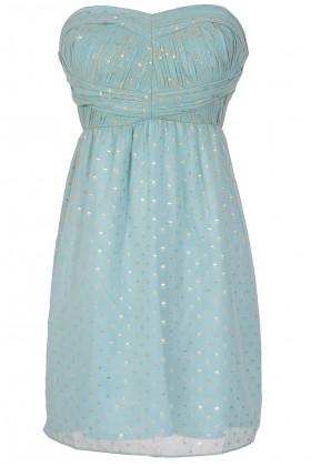 Deep Blue Something Gold Dotted Designer Dress