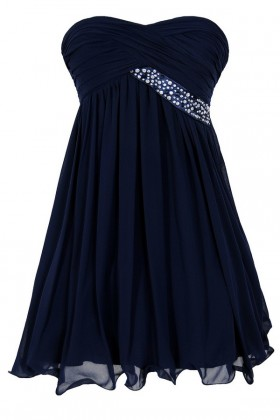 Trail of Stars Embellished Pleated Chiffon Party Dress in Navy