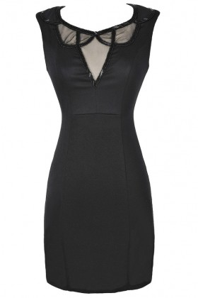 Black Embellished Neckline Designer Pencil Dress