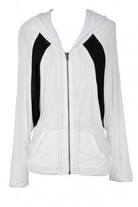 Black and White Colorblock Batwing Hoodie