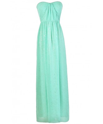 Mint Prom Dress, Mint Formal Dress, Mint and Silver Dress, Mint Chiffon Maxi Dress, Cute Mint Dress, Mint Strapless Maxi Dress