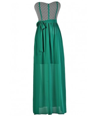 Jade Maxi Dress, Colorblock Stripe Maxi Dress, Summer Maxi Dress, Strapless Summer Maxi, Jade Green Maxi Dress