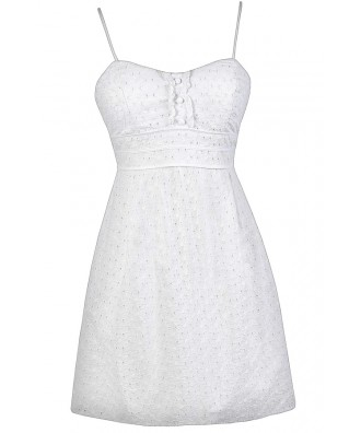 White Eyelet Dress, White Sundress, White Summer Dress, White Eyelet A-Line Dress, White Graduation Dress