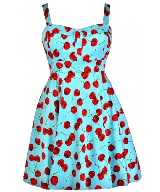 Cute Plus Size Dress, Plus Size Cherry Dress, Plus Size Retro Dress ...
