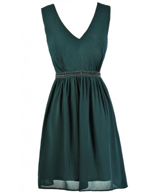 Emerald Green A-Line Dress, Dark Green Bridesmaid Dress, Hunter Green Bridesmaid Dress, Green Embellished Dress, Green A-Line Dress, Green Party Dress, Green Cocktail Dress