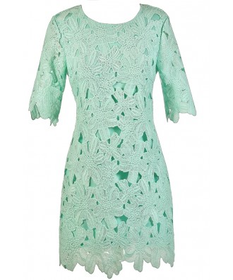 Mint Lace Dress, Mint Crochet Lace Dress, Mint Lace Sheath Dress, Mint Party Dress, Mint Oversized Lace Dress