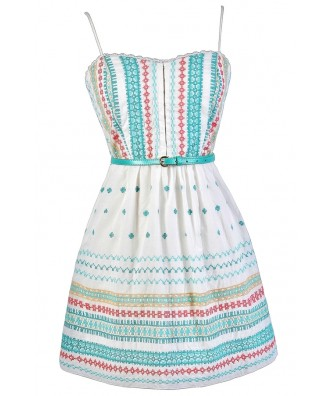 Cute Summer Dress, Cute Sundress, Embroidered Sundress, Embroidered Summer Dress, Cute Embroidered Dress, Belted Sundress, Belted Summer Dress, Coral and Aqua Embroidered Dress
