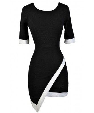 Black and White Pencil Dress, Black and White Asymetrical Pencil Dress, Black and White Crossover Hemline Dress, Little Black Dress, Cute Black Dress