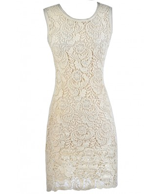 Beige Lace Midi Dress, Cute Beige Dress, Beige Lace Sheath Dress, Beige Lace Rehearsal Dinner Dress, Beige Lace Bridal Shower Dress, Cute Lace Dress, Lace Summer Dress