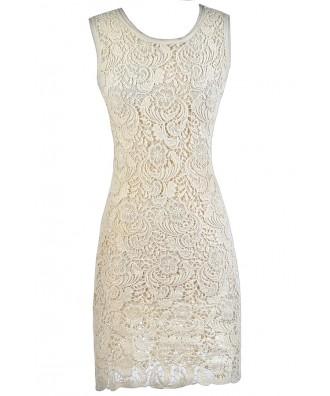 Beige Lace Midi Dress, Cute Beige Dress, Beige Lace Sheath Dress, Beige Lace Rehearsal Dinner Dress, Beige Lace Bridal Shower Dress, Cute Lace Dress, Lace Summer Dress