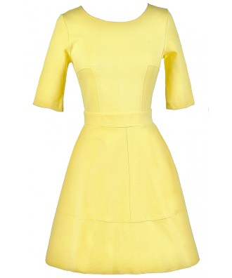 Yellow A-Line Dress, Yellow party Dress, Cute Yellow Dress, Yellow Summer Dress