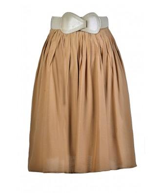 Caramel A-Line Skirt, Taupe A-Line Skirt, Flowy A-Line Skirt, Light Brown A-Line Skirt, Cute Summer Skirt, Cute Fall Skirt, Belted A-Line Skirt, Flowy A-Line Skirt
