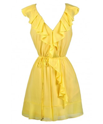 Cute Yellow Dress, Bright Yellow Dress, Yellow Ruffle Dress, Yellow Ruffle Wrap Dress, Yellow Party Dress, Cute Work Dress